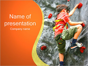 Child Climbing on Wall PowerPoint Template