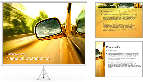 Car and Way PowerPoint Template
