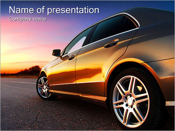 Car On The Road PowerPoint Template