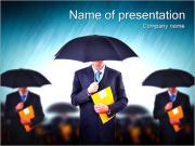 Businessmen Under Umbrellas PowerPoint Templates