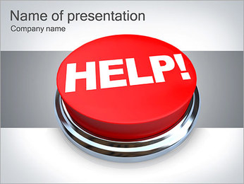 Help Sign On The Button PowerPoint Template