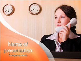 Woman At The Reception PowerPoint Template