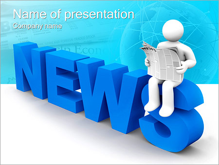 Reading Newspaper Powerpoint Template  Backgrounds Id