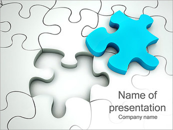 Blue-Colored Puzzle Part PowerPoint Template