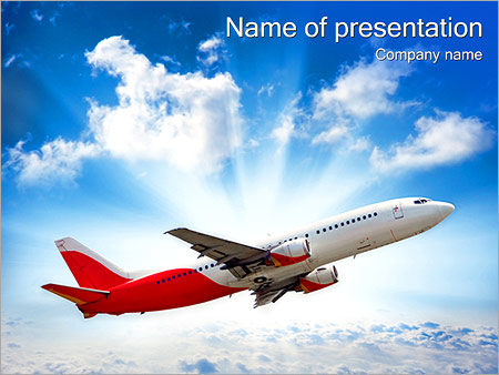 plane in the sky powerpoint template & backgrounds id 0000002720, Modern powerpoint