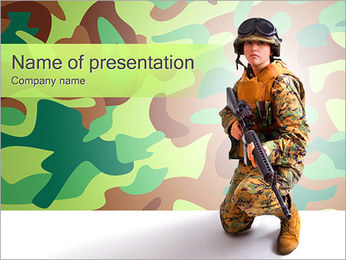 Military Woman With Gun PowerPoint Template