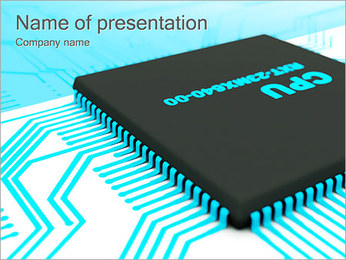 CPU Computer Sign PowerPoint Template