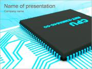 CPU Computer Sign PowerPoint Templates