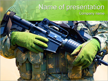 Weapon in Soldiers Hand PowerPoint Template