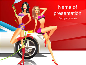 Girls Wash Car PowerPoint Template