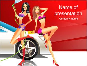 Les filles de lavage de voiture Modèles des présentations  PowerPoint - Diapositives 1