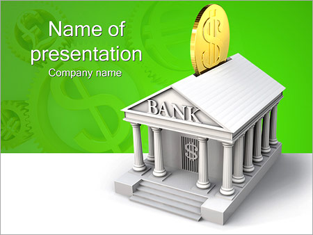 keep money in bank powerpoint template & backgrounds id 0000002774, Powerpoint templates