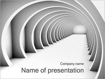 Futurystyczny, biały korytarz Szablony prezentacji PowerPoint