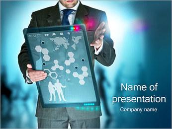 Hombre con pantalla táctil Plantillas de Presentaciones PowerPoint