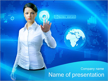 Woman Uses Touch Screen PowerPoint Template
