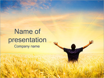 Happy Man In The Field PowerPoint Template
