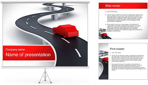 Long Road avec la voiture Modèles des présentations  PowerPoint
