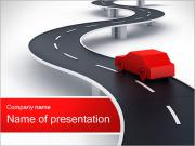 Largo camino con la Red Car Plantillas de Presentaciones PowerPoint