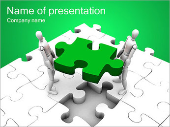Two Men Make Puzzle PowerPoint Template