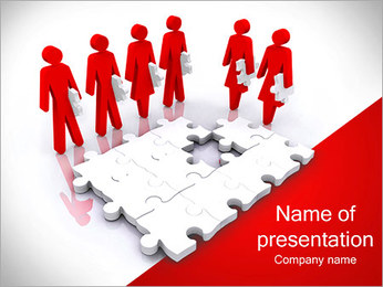 People With Puzzle Parts PowerPoint Template