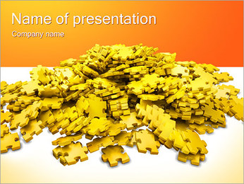 Yellow Puzzle Parts PowerPoint Template
