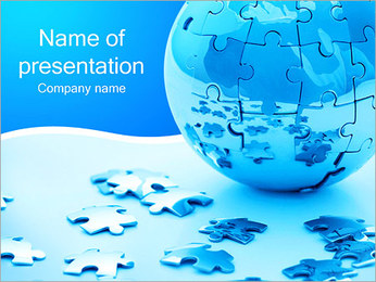 Blue Earth Puzzle PowerPoint Template
