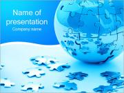 Blue Earth Puzzle PowerPoint Templates