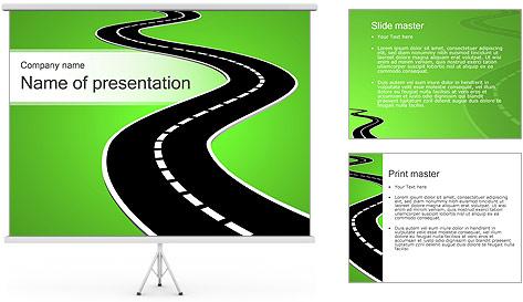Route sur fond vert Modèles des présentations  PowerPoint