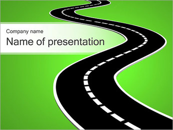 Road On Green Background PowerPoint Template