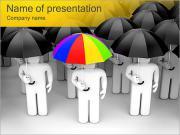 People Under Umbrellas PowerPoint Templates