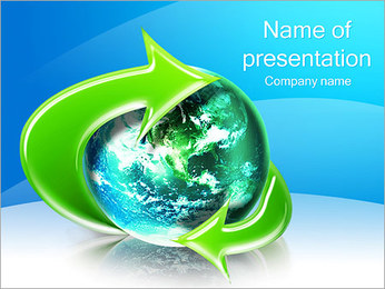 Earth And Green Arrow PowerPoint Template