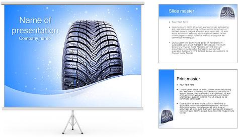 Hiver de pneu de voiture Modèles des présentations  PowerPoint