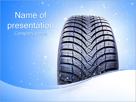 Winter Car Tire Powerpoint Template & Backgrounds Id 0000002860