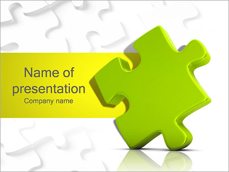 One Yellow Puzzle Element Powerpoint Template & Backgrounds Id