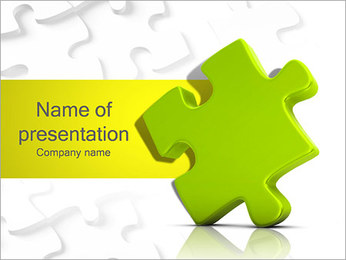 One Yellow Puzzle Element PowerPoint Template