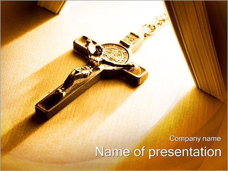 jesus cross powerpoint template & backgrounds id 0000002871, Powerpoint templates