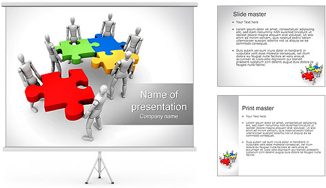 Abstract People With Puzzle PowerPoint Template Backgrounds ID – Puzzle Powerpoint Template