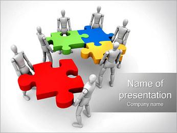 Personas Abstractas Con Puzzle Plantillas de Presentaciones PowerPoint - Diapositiva 1