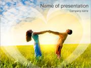 Sweet Couple In Field PowerPoint Templates