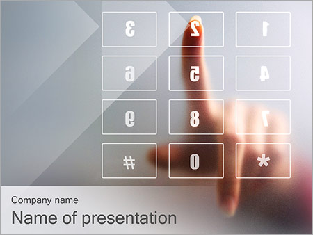 Hand pushing touch screen button powerpoint template, backgrounds.