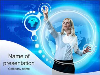 Mujer con pantalla táctil Plantillas de Presentaciones PowerPoint