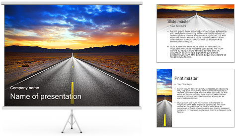 Road At Sunset PowerPoint Template