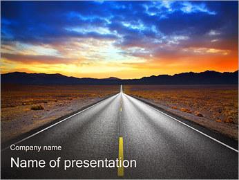 Weg bij zonsondergang Sjablonen PowerPoint presentatie