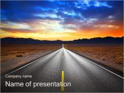 Road At Sunset PowerPoint Templates