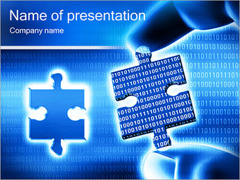 Blue Puzzle Abstraction PowerPoint Template