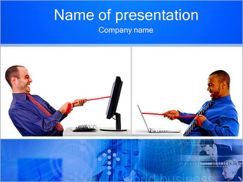 Two Men Competitors PowerPoint Template