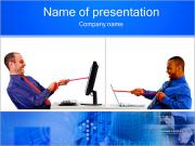 Two Men Competitors PowerPoint Templates