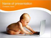 Baby with Laptop PowerPoint Templates