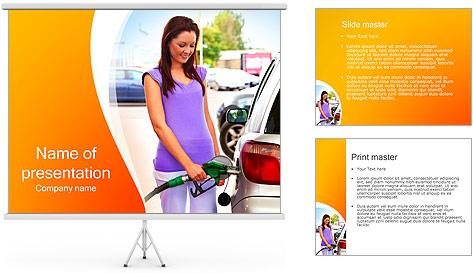 Femme à la station essence Modèles des présentations  PowerPoint