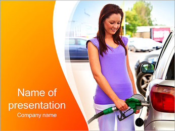 Woman At Petrol Station PowerPoint Template